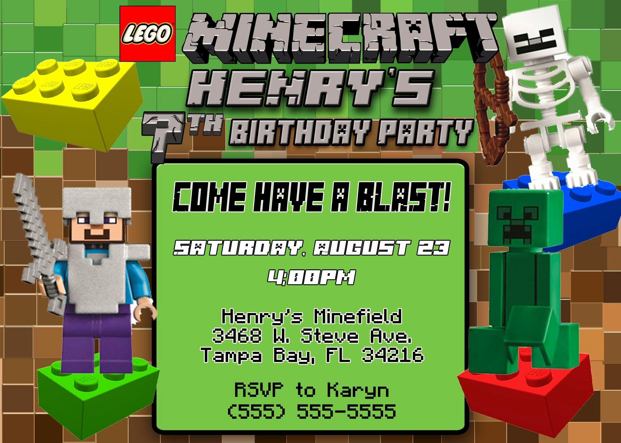 Minecraft Birthday Invite Template Lovely Lego Minecraft Birthday Invitation