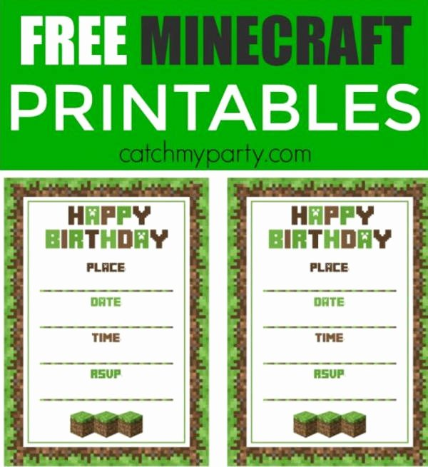 Minecraft Birthday Invite Template Luxury Free Minecraft Printables Psd Png Vector Eps