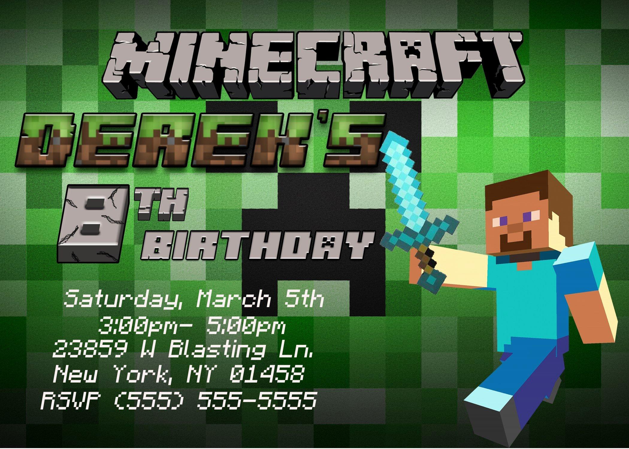 Minecraft Birthday Invite Template Luxury New Birthday Card All About Birthday Invitation Cards