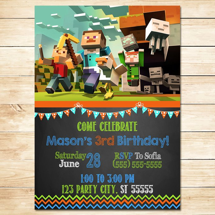 Minecraft Birthday Invite Templates Awesome Minecraft Invitation Chalkboard Flags by Monkstavern On