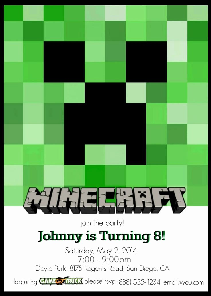 Minecraft Birthday Invite Templates Best Of 25 Best Ideas About Minecraft Invitations On Pinterest