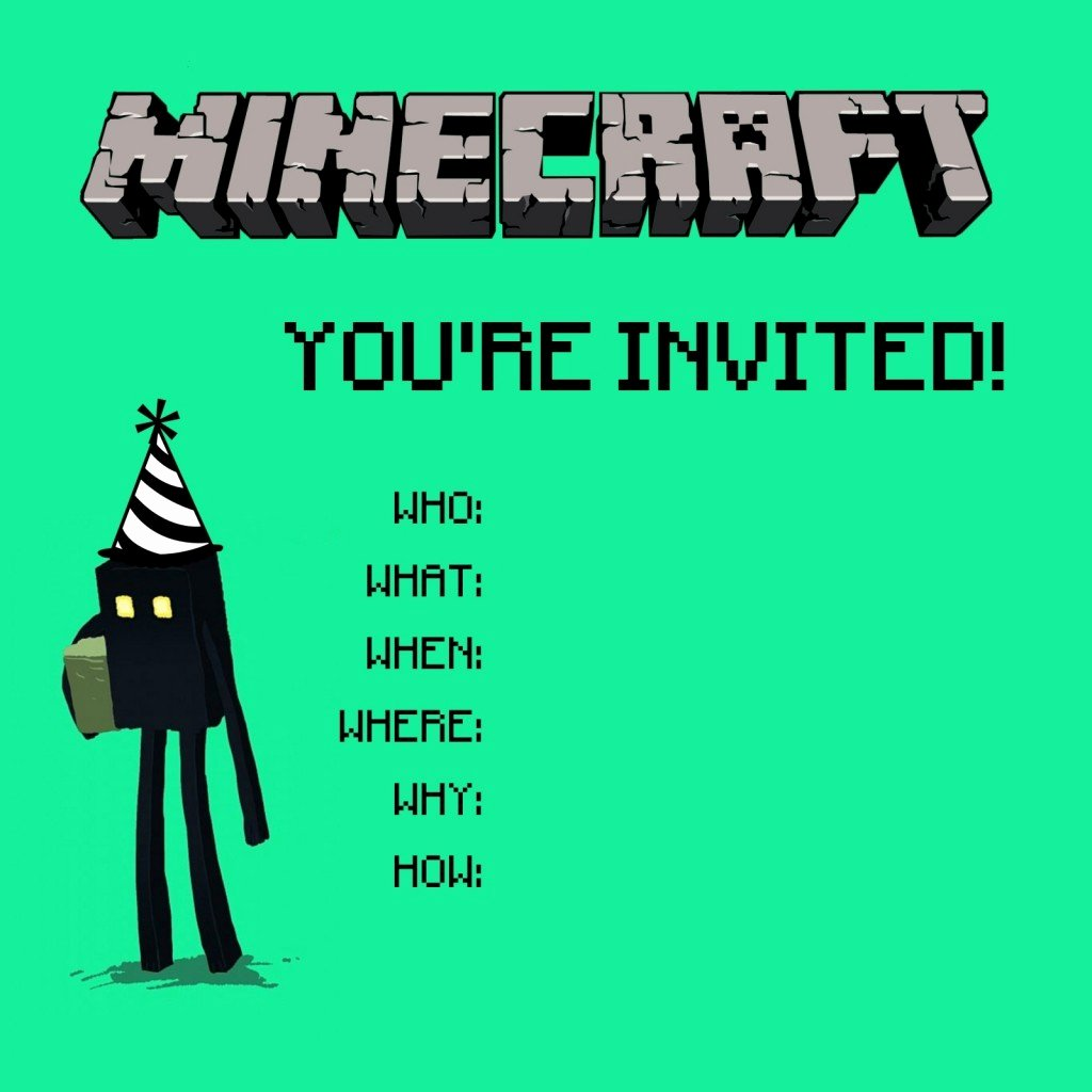 Minecraft Birthday Invite Templates Best Of Minecraft Birthday Party Printables Crafts and Games