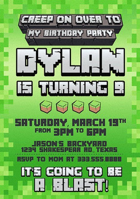 Minecraft Birthday Invite Templates Best Of Templates for Minecraft Party Invitations