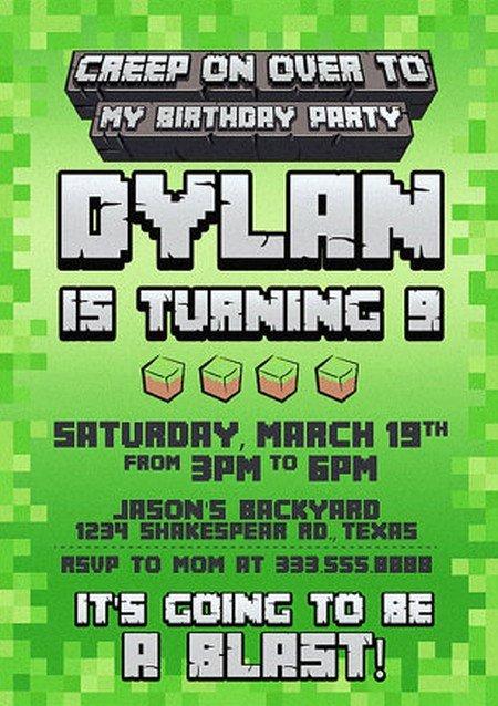Minecraft Birthday Invite Templates Best Of Templates for Minecraft Party Invitations