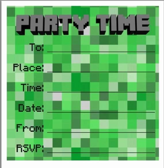 Minecraft Birthday Invite Templates Elegant Party Invites Minecraft Style 10 Pack