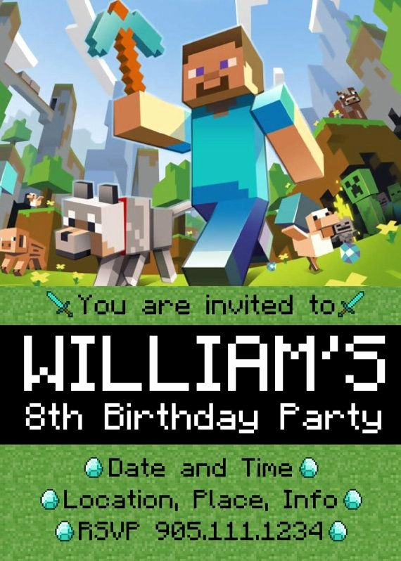 Minecraft Birthday Invite Templates Fresh 14 Best Minecraft Invitations Images On Pinterest