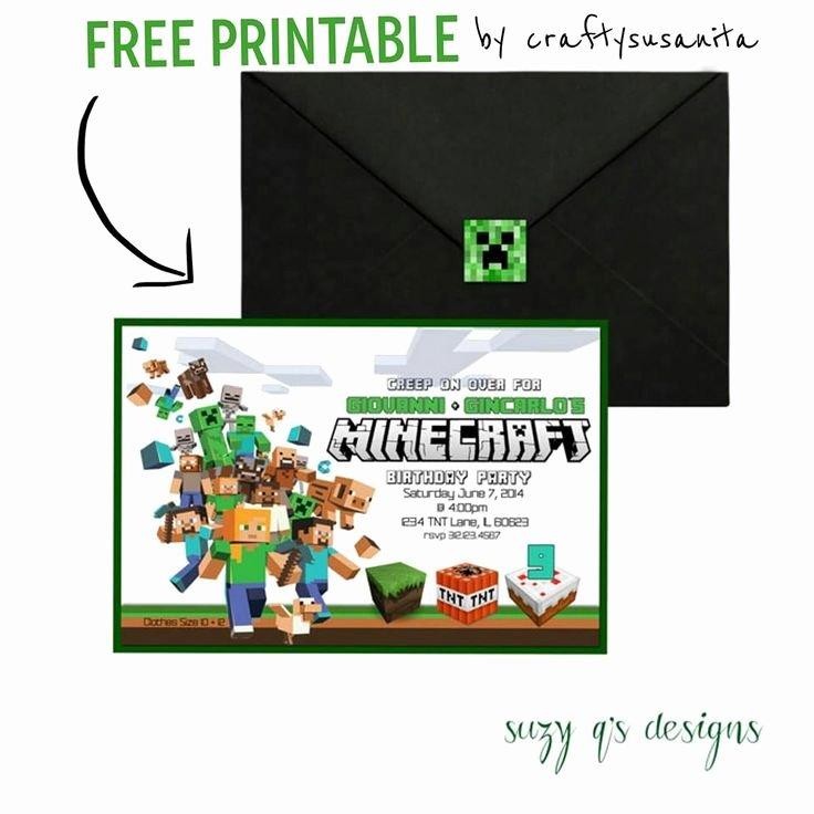 Minecraft Birthday Invite Templates Fresh Free Minecraft Birthday Party Invitation Template Chfedlongk