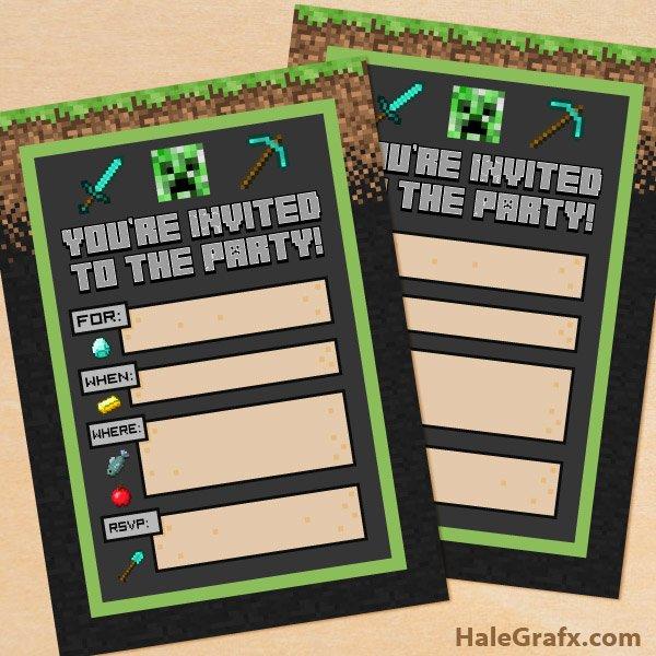 Minecraft Birthday Invite Templates Fresh Free Printable Minecraft Birthday Party Invitation