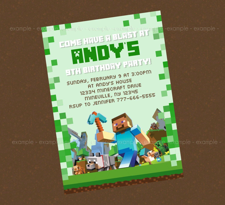 Minecraft Birthday Invite Templates Inspirational 40th Birthday Ideas Minecraft Birthday Invitation
