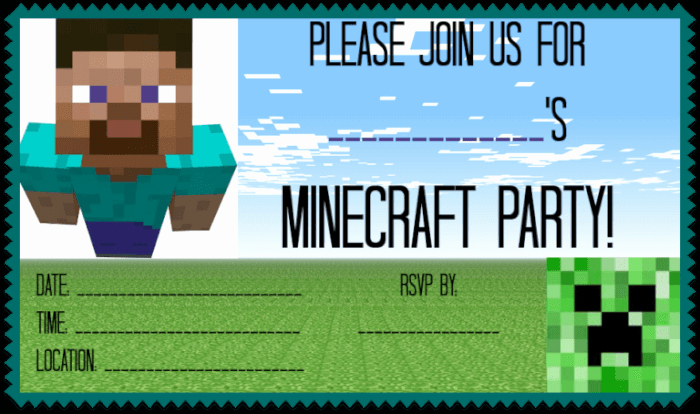 Minecraft Birthday Invite Templates Inspirational Great Ideas for A Minecraft Birthday Party Mom 6