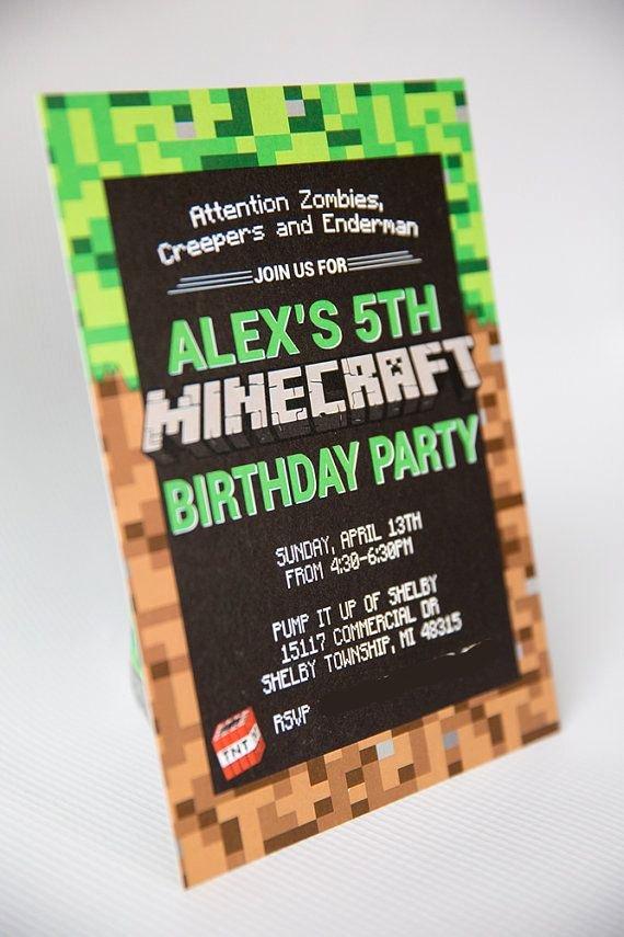Minecraft Birthday Invite Templates Lovely Best 25 Minecraft Invitations Ideas On Pinterest