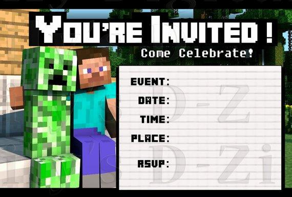 Minecraft Birthday Invite Templates Lovely Friendly Minecraft Invitation Printable • Experience Of A