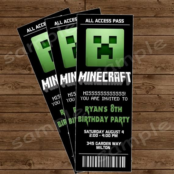 Minecraft Birthday Invite Templates Lovely Items Similar to Minecraft Ticket Invitation Minecraft