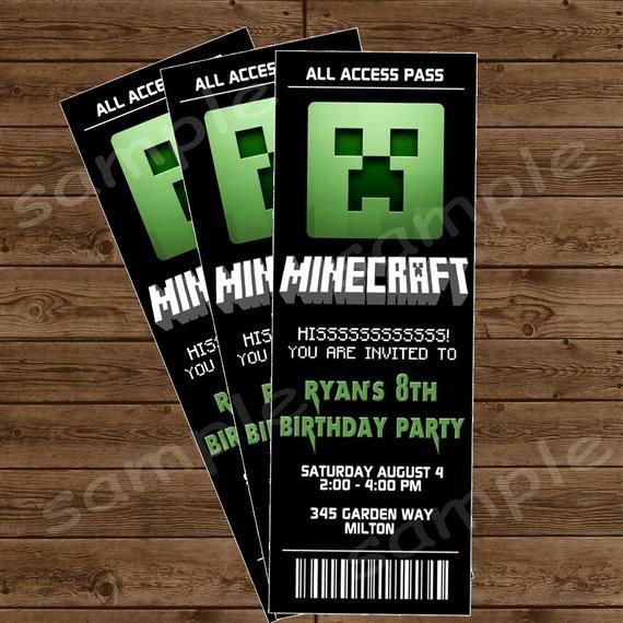 Minecraft Birthday Invite Templates Lovely Items Similar to Minecraft Ticket Invitation Minecraft