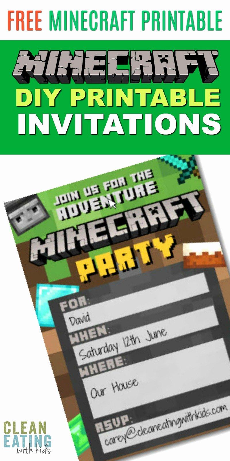 Minecraft Birthday Invite Templates Luxury Free Diy Printable Minecraft Birthday Invitation Clean