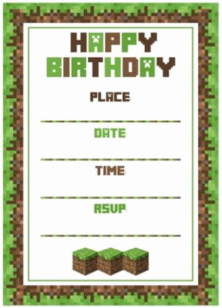 Minecraft Birthday Invite Templates New Minecraft Birthday Party Invitation Template