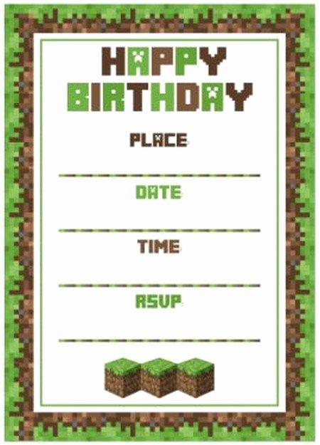 Minecraft Birthday Invite Templates New Minecraft Birthday Party Invitation Template