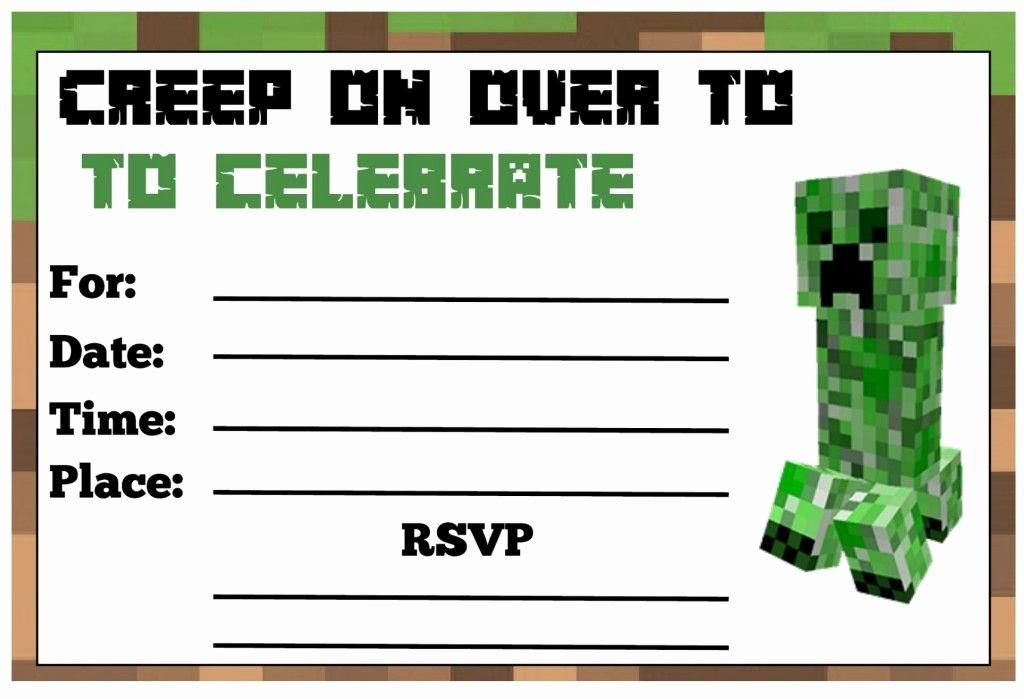 Minecraft Birthday Invite Templates Unique Minecraft Birthday Party
