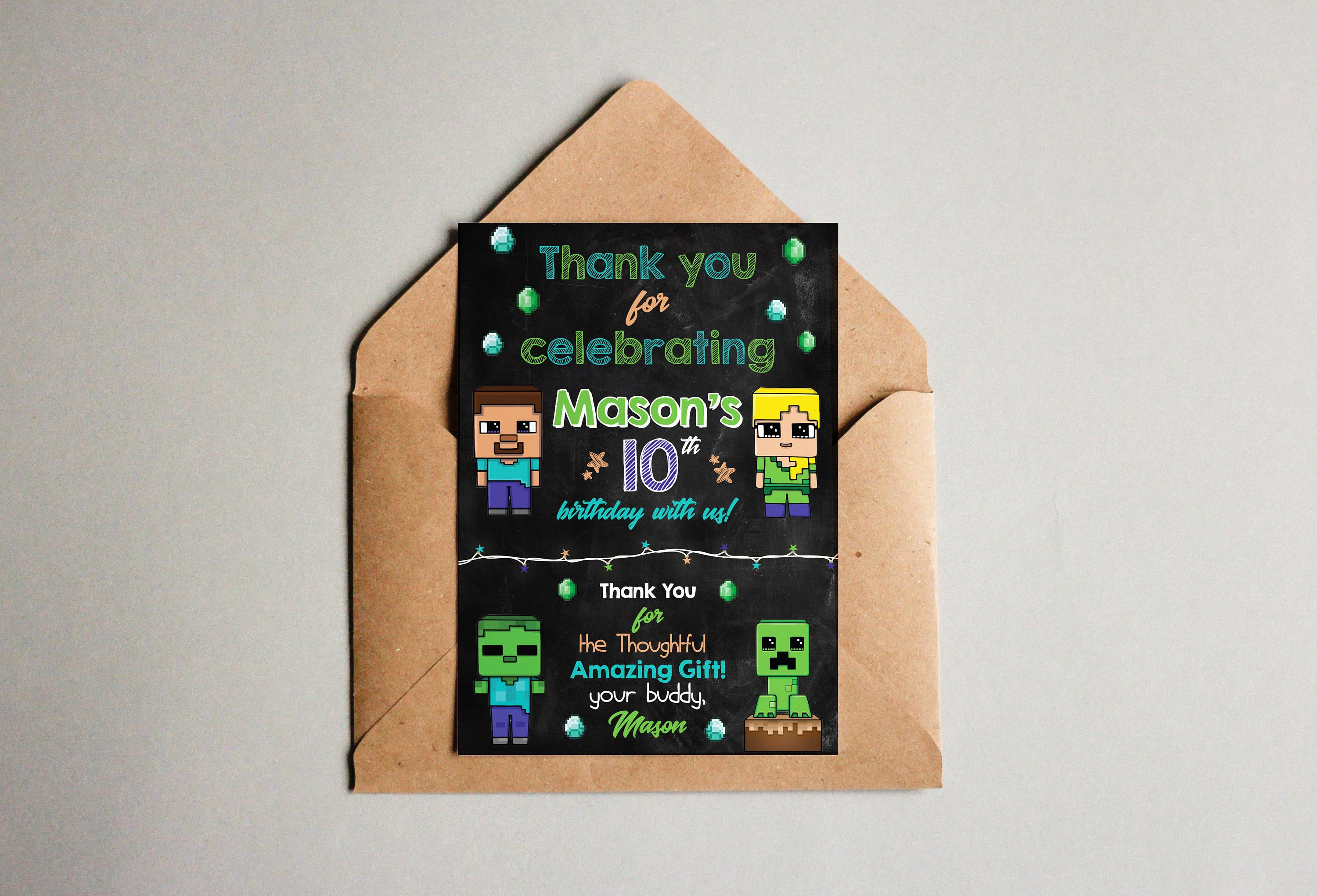 Minecraft Thank You Cards Awesome Minecraft Thank You Card Minecraft Invitation Thank You Card