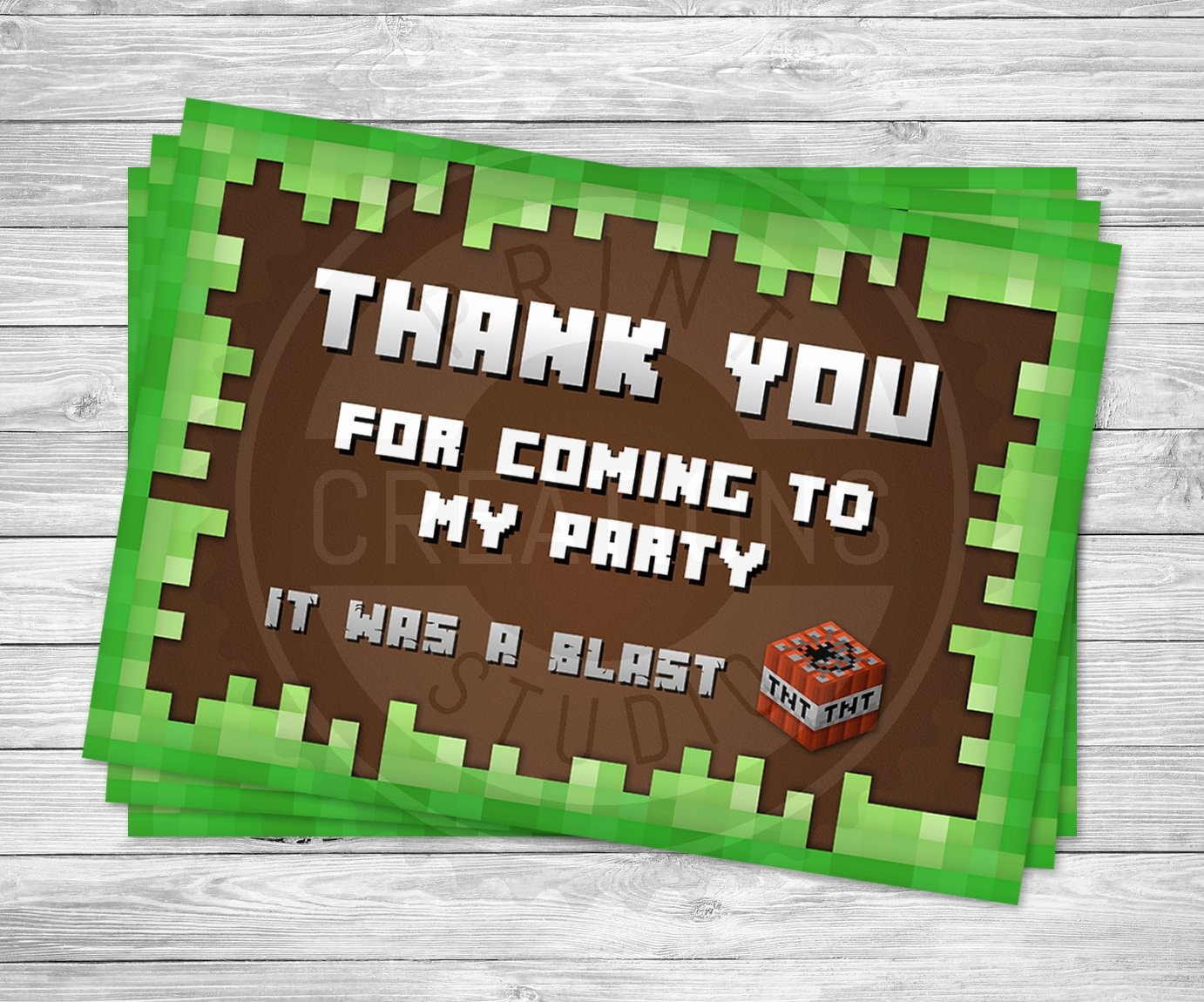 Minecraft Thank You Cards Awesome Minecraft Thank You Cards Minecraft Birthday Party Supplies