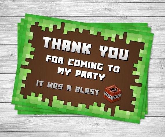 Minecraft Thank You Cards Beautiful Best 10 Minecraft Party Favors Ideas On Pinterest
