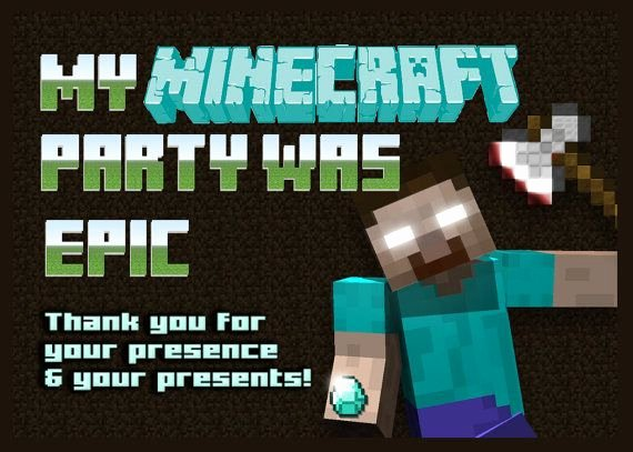 Minecraft Thank You Cards Beautiful Minecraft Herobrine Birthday Printable Thank You Card On