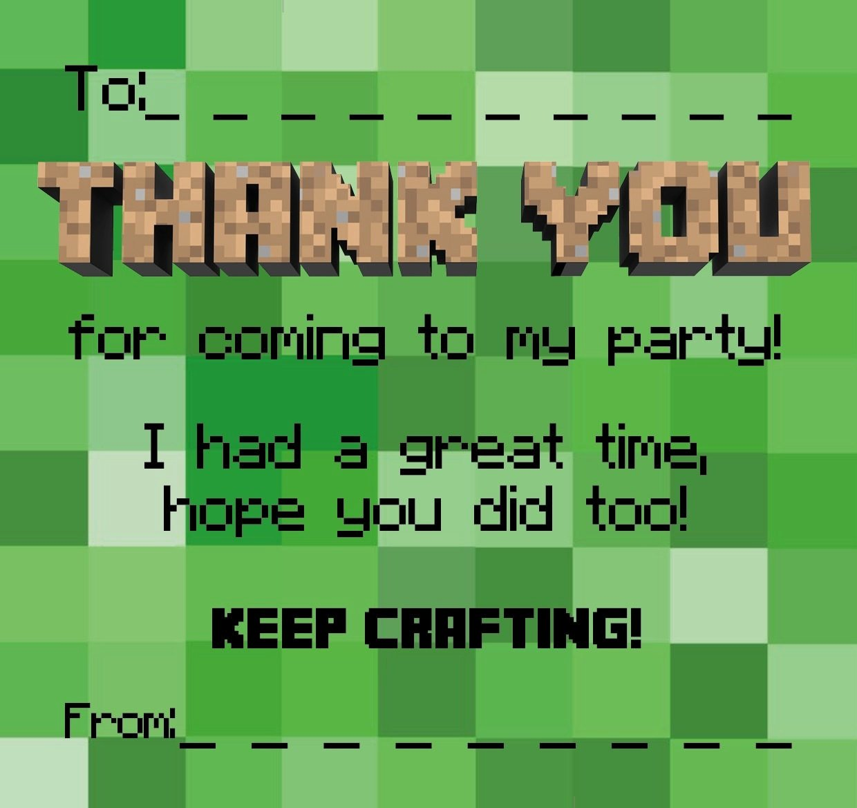 Minecraft Thank You Cards Beautiful Thankyou Cards Notes Minecraft Style Party