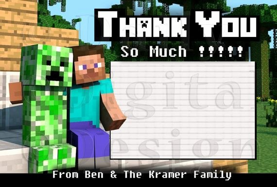 Minecraft Thank You Cards Best Of Custom Creeper & Steve Minecraft Thank You Card 4x6 Uprint