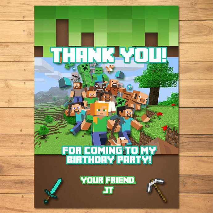 Minecraft Thank You Cards Best Of Minecraft Thank You Card Green Blocks by Monkstavern On