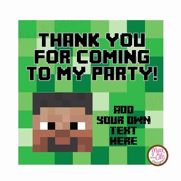 "Minecraft Thank You Cards Best Of Printable 2"" Tags & Labels Minecraft Steve Thank You"