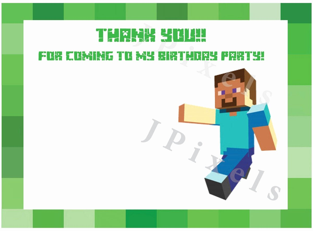 Minecraft Thank You Cards Fresh Minecraft Thank You Card Instant Download Digital File by
