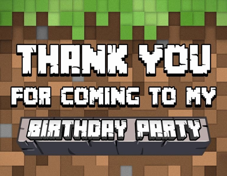 Minecraft Thank You Cards Fresh Minecraft Thank You Card