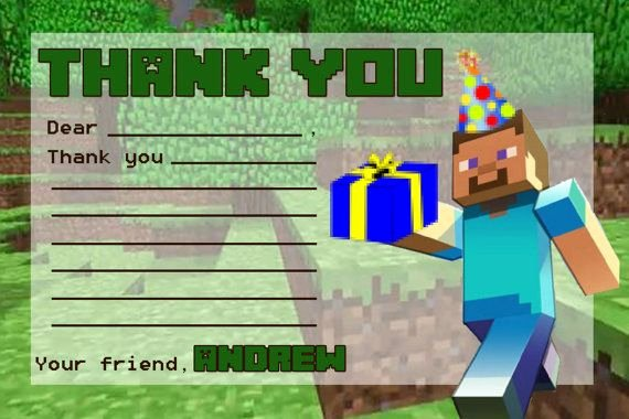 Minecraft Thank You Cards Fresh Minecraft Thank You Note with Blanks by Twotwelvedesigns