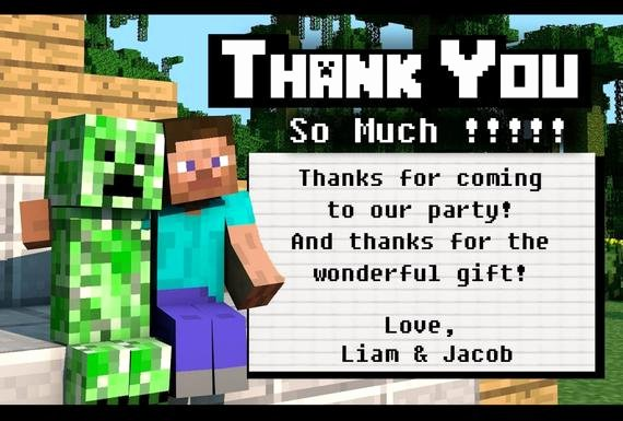 Minecraft Thank You Cards Inspirational Minecraft Party Thank You Cards 4x6 by Dailydigitaldesigns