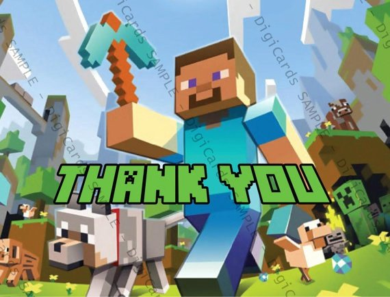 Minecraft Thank You Cards Inspirational Minecraft Thank You Card by Digicards On Etsy $4 99