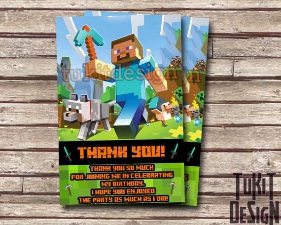Minecraft Thank You Cards Lovely Camilo J toledo On Etsy