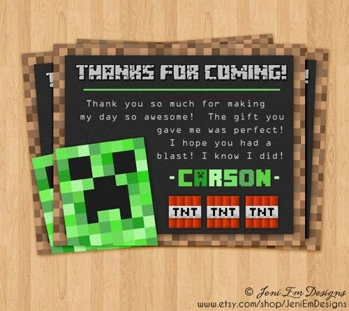 Minecraft Thank You Cards Lovely Matching Minecraft Creeper Thank You Card Printable Tnt
