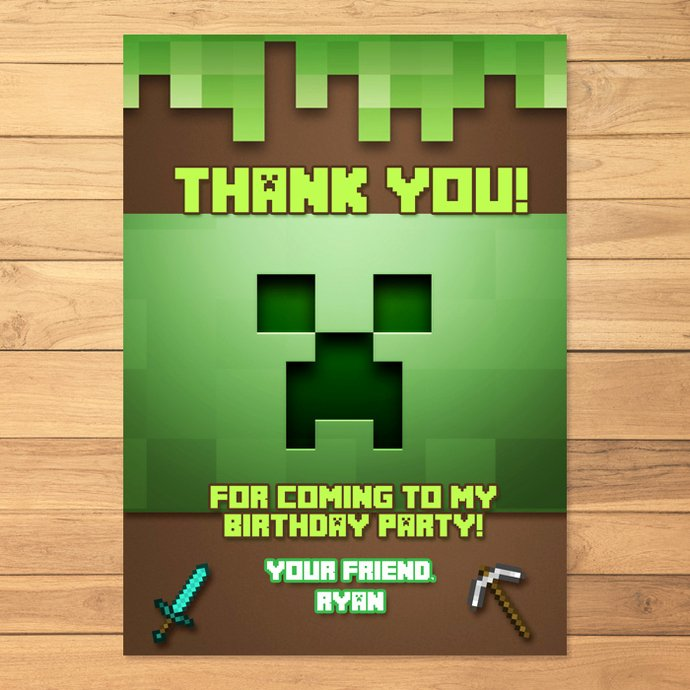 Minecraft Thank You Cards Lovely Minecraft Thank You Card Creeper Minecraft by