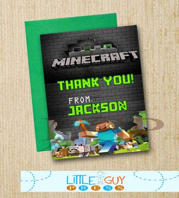 Minecraft Thank You Cards Lovely Unavailable Listing On Etsy