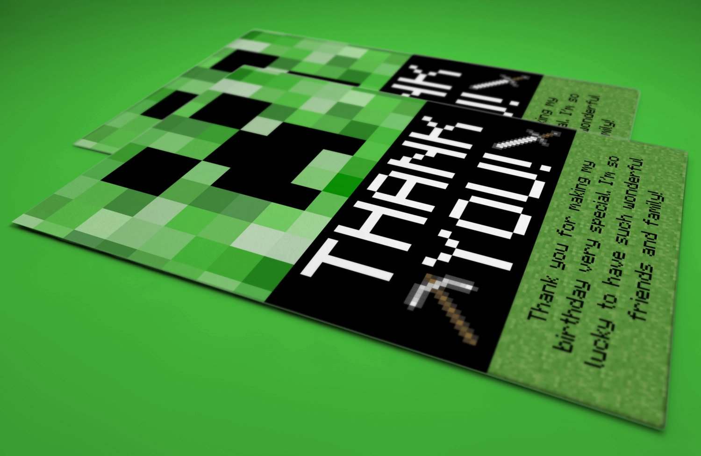 Minecraft Thank You Cards New Mark Hoffberg On Etsy