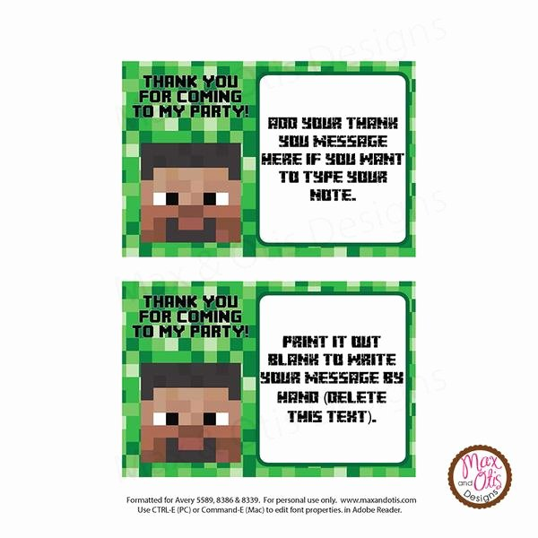 Minecraft Thank You Cards New Printable Thank You Card Minecraft Steve Editable Pdf