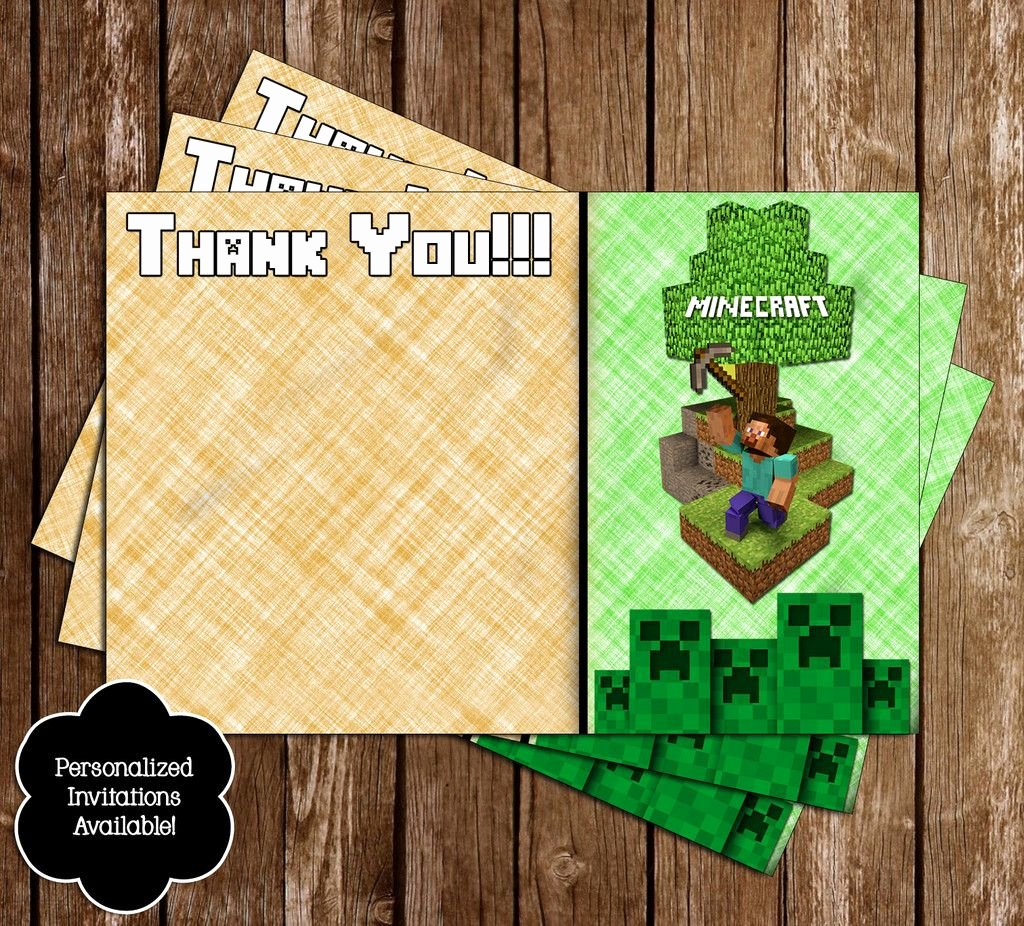 Minecraft Thank You Cards Unique Free Minecraft Inspired Birthday Thank You Card Printable