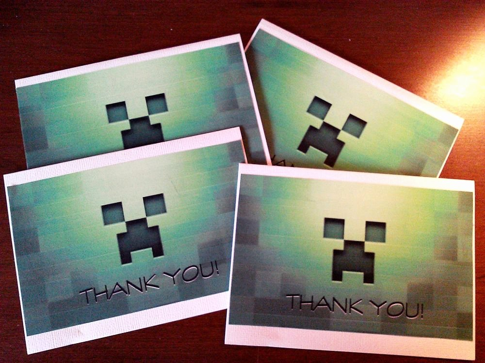 Minecraft Thank You Cards Unique Handmade Minecraft Thank You Cards