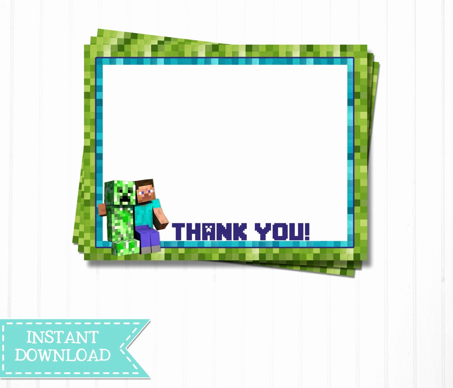 Minecraft Thank You Cards Unique Minecraft Thank You Notes Printable Pdf File by Moandcoparties