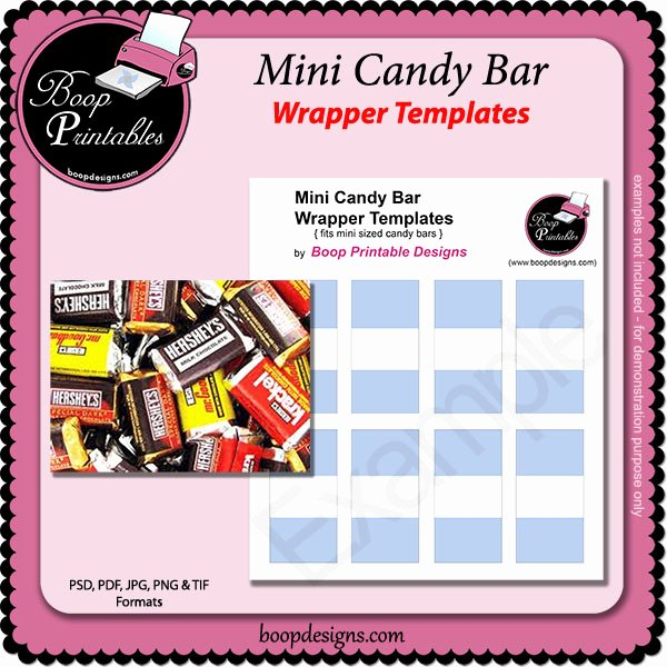 Mini Candy Bar Wrapper Template Lovely Mini Sized Candy Bar Template Wraps by Boop Printable