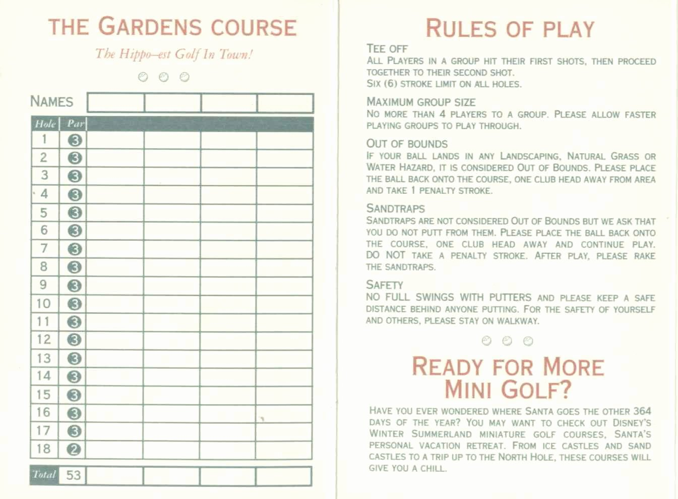 Mini Golf Score Card Beautiful Score Cards Of Crazy Golf Miniature Golf and Adventure