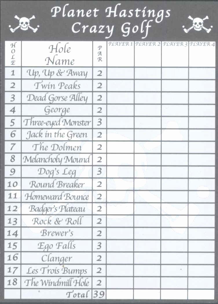 Mini Golf Score Card Elegant Score Cards Of Crazy Golf Miniature Golf and Adventure