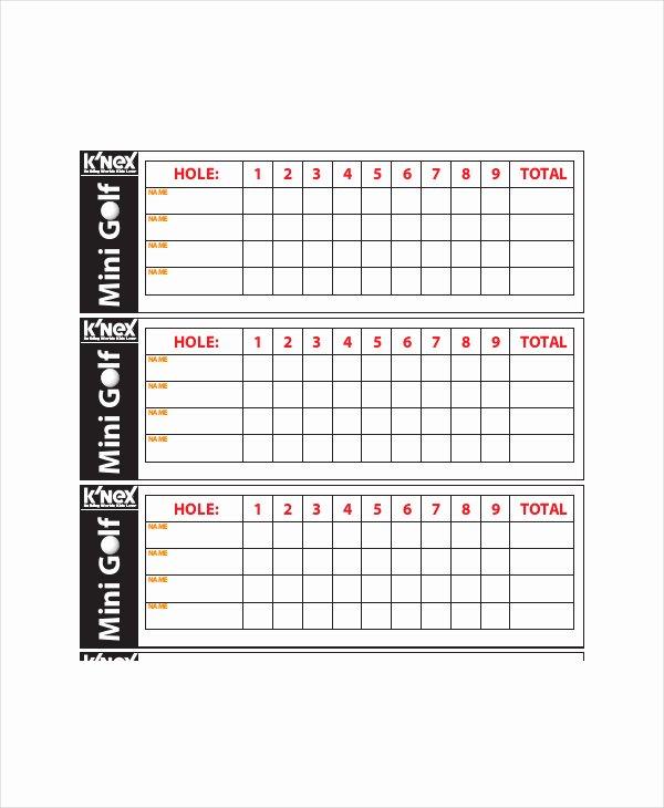 Mini Golf Score Card Fresh Printable 9 Hole Golf Scorecard Sm Printable Score Card