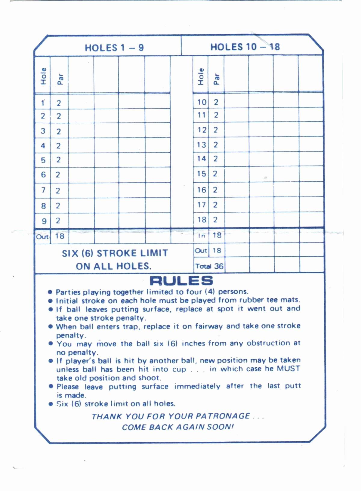 Mini Golf Score Card Inspirational Score Cards Of Crazy Golf Miniature Golf and Adventure