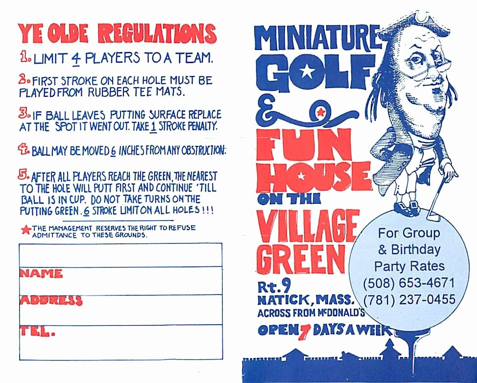 Mini Golf Score Card Luxury Score Cards Of Crazy Golf Miniature Golf and Adventure